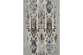 60X96 Rug-Wool Ikat Drip Grey & Brown