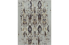 96X132 Rug-Wool Ikat Drip Grey & Brown