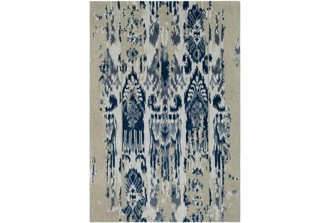 24X36 Rug-Wool Ikat Drip Grey & Blue - 360