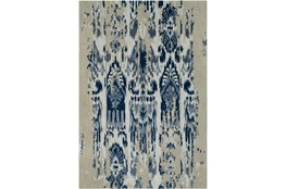 39X63 Rug-Wool Ikat Drip Grey & Blue