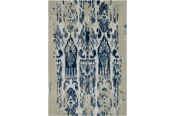 60X96 Rug-Wool Ikat Drip Grey & Blue