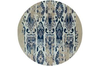 96 Inch Round Rug-Wool Ikat Drip Grey & Blue