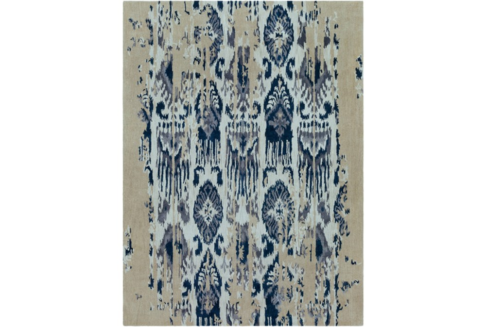 108X156 Rug-Wool Ikat Drip Grey & Blue