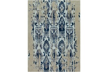 108X156 Rug-Wool Ikat Drip Grey & Blue