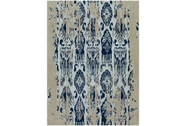 108X156 Rug-Wool Ikat Drip Grey & Blue - 360