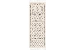 31X87 Rug-Native Tassel Shag Charcoal & Beige