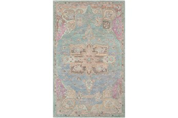 24X36 Rug-Centonze Traditional Aqua And Mauve
