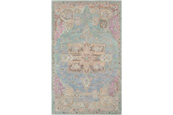 60X90 Rug-Centonze Traditional Aqua And Mauve