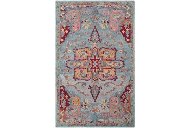 60X90 Rug-Centonze Traditional Red And Blue - 360