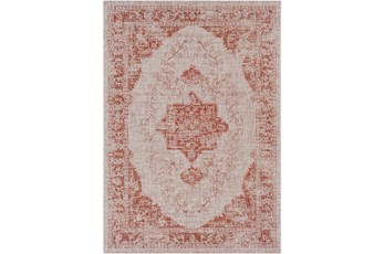 63X90 Outdoor Rug-Regal Medallion Orange