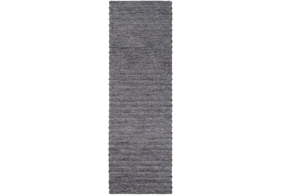 30X96 Rug-Braided Wool Blend Charcoal