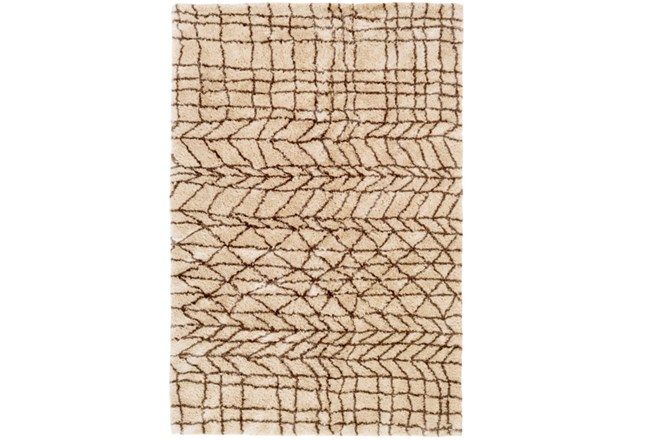 60X90 Rug-Plush Tribal Shag Khaki & Brown - 360