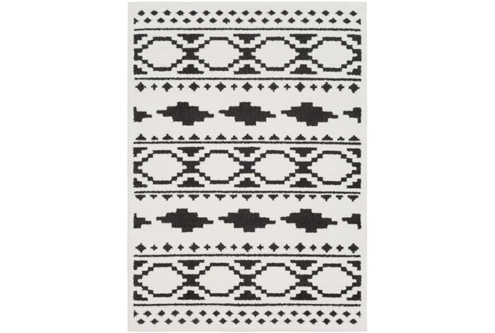 24X36 Rug-Graphic Tile Shag Black & White