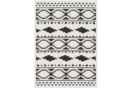 63X87 Rug-Graphic Tile Shag Black & White