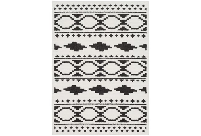 79X114 Rug-Graphic Tile Shag Black & White - 360