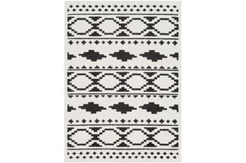 94X123 Rug-Graphic Tile Shag Black & White
