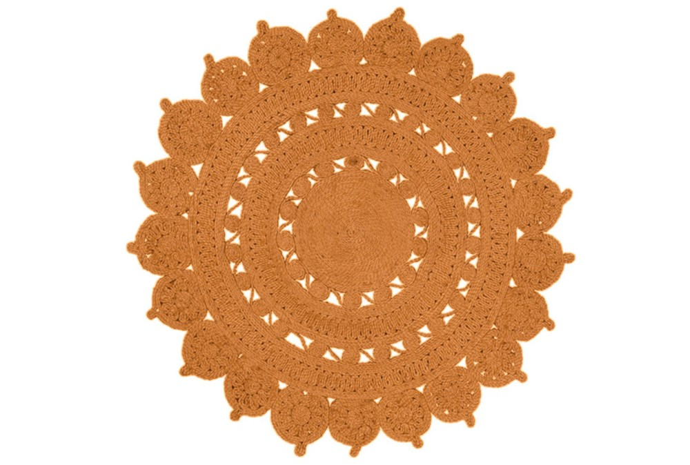 36 Inch Round Rug-Jute Medallion Orange