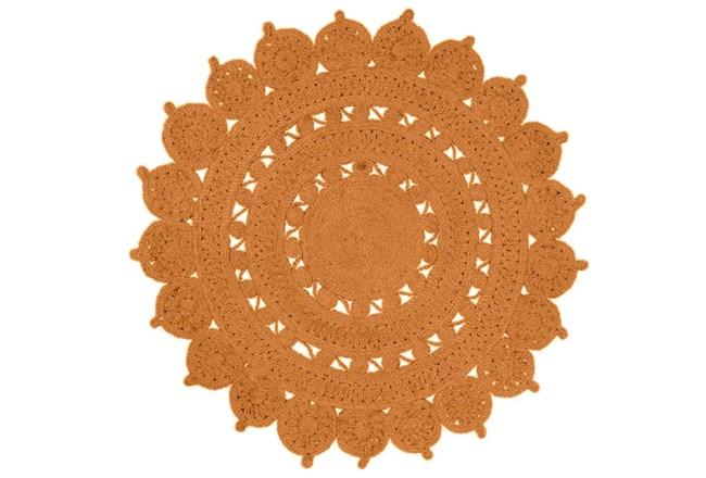 36 Inch Round Rug-Jute Medallion Orange - 360