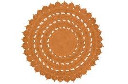 60 Inch Round Rug-Jute Medallion Orange