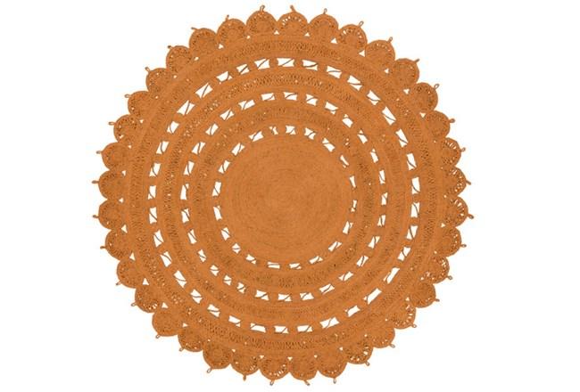 60 Inch Round Rug-Jute Medallion Orange - 360