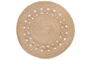 60 Inch Round Rug-Jute Medallion Wheat