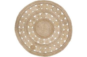 96 Inch Round Rug-Jute Medallion Wheat