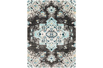 24X36 Rug-Medallion Shag Aqua & Grey