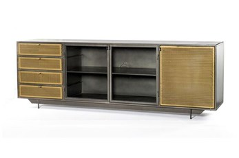 "Gunmetal Perforated Brass 83"" Media Console"