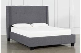 KIT-DAMON CHARCOAL QUEEN UPHOLSTERED PLATFORM BED