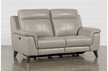 """Moana Taupe Leather Dual 70"""" Power Reclining Loveseat With Usb"""
