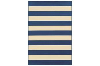 79X114 Outdoor Rug-Navy Stripe