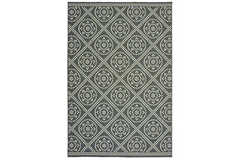 102X158 Outdoor Rug-Grey/Ivory Diamond Dots