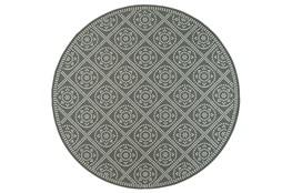 94 Inch Round Outdoor Rug-Grey/Ivory Diamond Dots