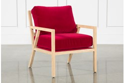 Red Velvet White Oak Chair