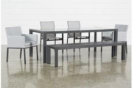 Ravelo Outdoor 6 Piece Dining Set With Sling And Upholstered Chairs