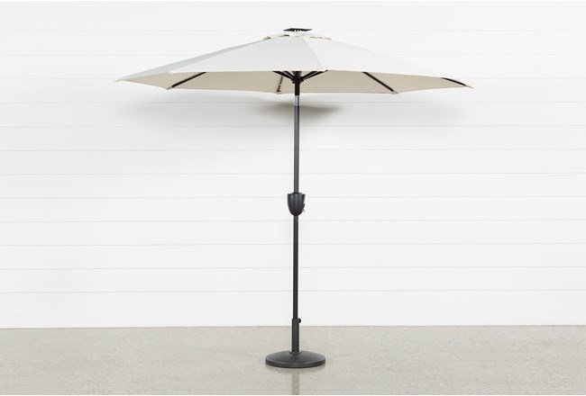 Market Outdoor Beige Umbrella With Lights And Bluetooth - 360