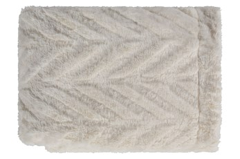 Accent Throw-Ivory Fur Chevron