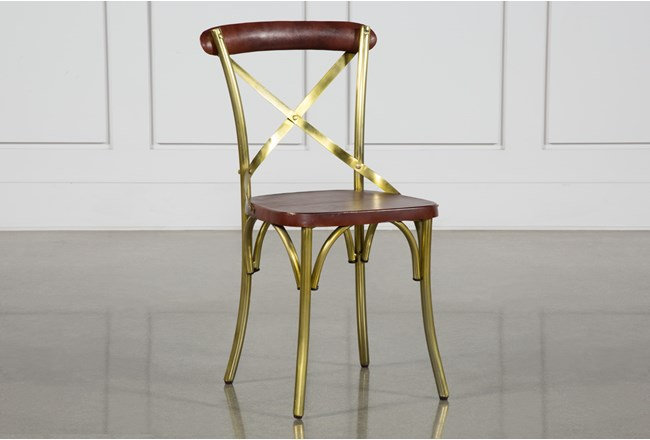 Brass And Brown Dining Chair - 360