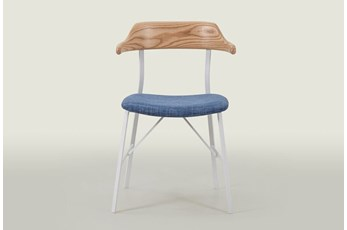 Natural Dining Chair With Blue Seat