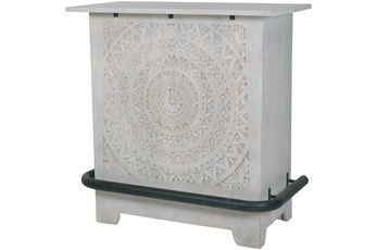 White Wash Hand Carved Tapered Bar