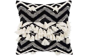 Accent Pillow-Black And Ivory Diamond Tassles 18X18