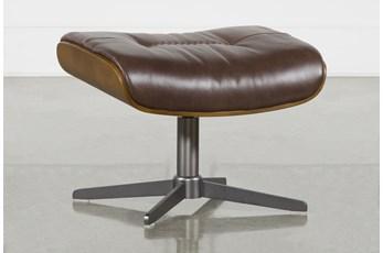 Amala Brown Leather Ottoman