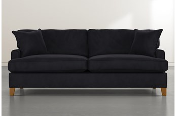 "Emerson II 88"" Black Velvet Sofa"