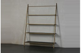 "Brass + Black Four Shelf 83"" Bookcase"