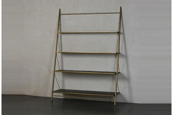 "Brass + Black Four Shelf 83"" Bookcase"