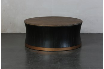 Round Black + Brass Drum Coffee Table