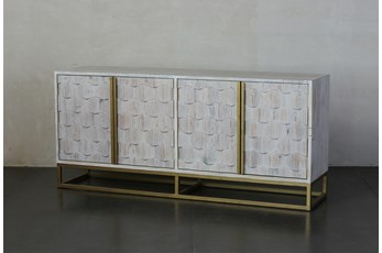 "Faceted 4 Door White Wash 70"" Sideboard"