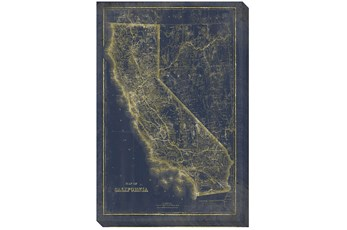 Picture-Ca Map Navy and Gold