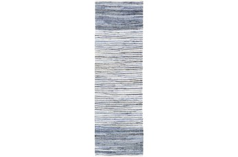 96X30 Rug-Recycled Denim Stripes