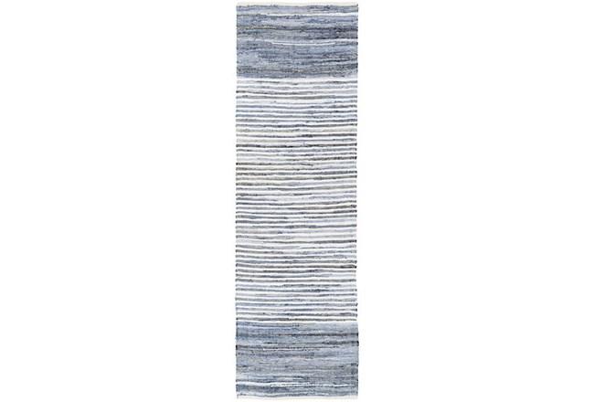 96X30 Rug-Recycled Denim Stripes - 360
